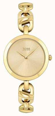 BOSS Frauen | neue Kette | goldenes Zifferblatt | goldenes pvd stahlarmband 1502591