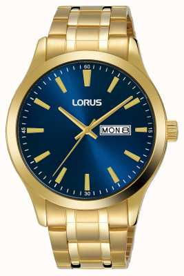 Lorus Herren | blaues Zifferblatt | vergoldetes Stahlarmband RH340AX9