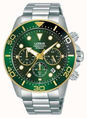 Lorus Herren | Chronograph | grünes Zifferblatt | Edelstahlarmband RT340JX9