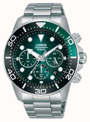 Lorus Herrenchronograph | grünes Zifferblatt | Edelstahlarmband RT341JX9