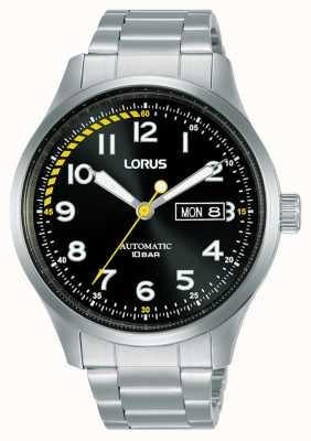 Lorus Herren | automatisch | schwarzes Zifferblatt | Edelstahlarmband RL457AX9