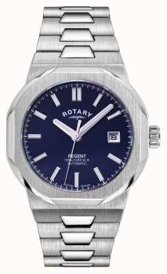 Rotary Herren | Regent | automatisch | blaues Zifferblatt | Edelstahlarmband GB05410/05