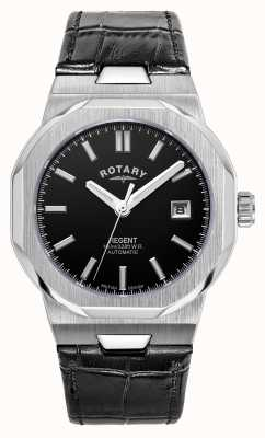Rotary Herren | Regent | automatisch | schwarzes Zifferblatt | schwarzes Lederband GS05410/04