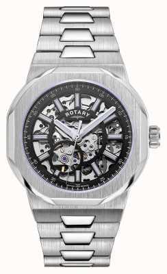 Rotary Herren   Regent   automatisch   schwarzes skelettiertes Zifferblatt   Edelstahl Ex-Display GB05415/04 EX-DISPLAY