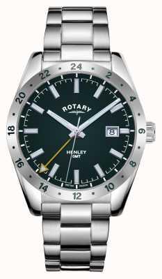 Rotary Herren | henley | gmt | grünes Zifferblatt | Edelstahlarmband GB05176/24