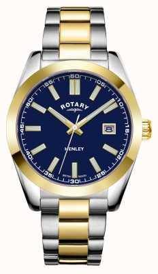Rotary Herren | henley | blaues Zifferblatt | zweifarbiges Edelstahlarmband GB05181/05