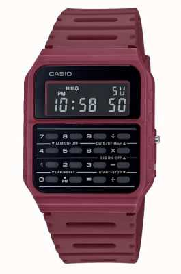 Casio Retro Rechner Uhr | tiefroter Harzarmband | schwarzes Zifferblatt CA-53WF-4BEF