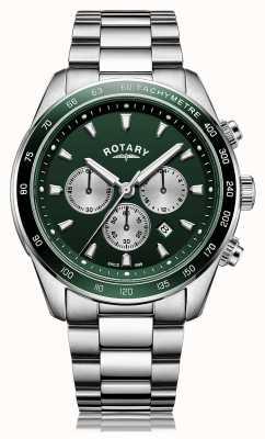 Rotary Herren | henley | Chronograph | grünes Zifferblatt | Edelstahlarmband GB05109/24