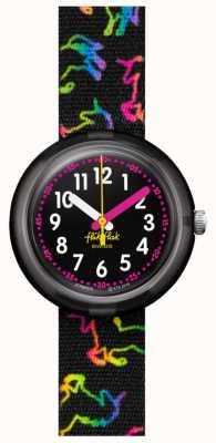 Flik Flak Disco-Einhorn | mehrfarbiges Einhorn-Print schwarzes Stoffarmband | schwarzes Zifferblatt FPNP070