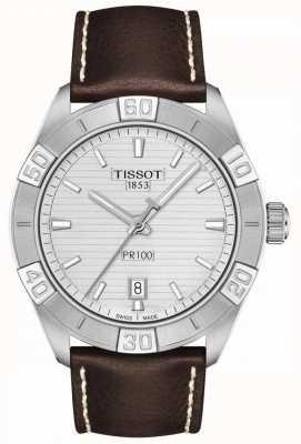 Tissot Pr100 Sport | silbernes Zifferblatt | braunes Lederband T1016101603100