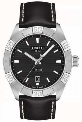 Tissot Pr100 Sport   schwarzes Zifferblatt   schwarzes Lederband T1016101605100