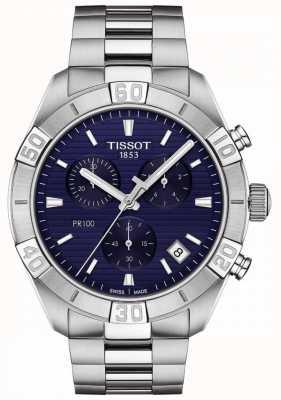 Tissot Pr100 Sport   Chronograph   blaues Zifferblatt   Edelstahlarmband T1016171104100