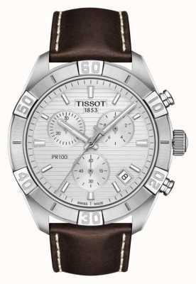 Tissot Pr100 Sport | Chronograph | silbernes Zifferblatt | braunes Lederband T1016171603100