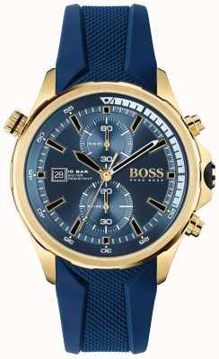 BOSS Weltenbummler | Chronograph | blaues Zifferblatt | blaues Silikonband 1513822