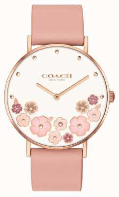 Coach Perry | Lederband aus rosafarbener Wadenhaut für Frauen | Blumenzifferblatt 14503770