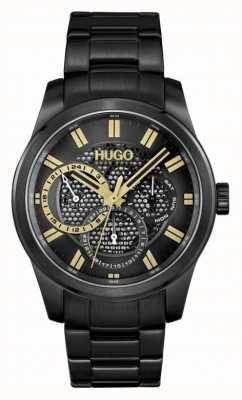 HUGO #skeleton | Herren schwarz IP Armband | schwarzes Zifferblatt 1530192