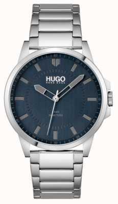 HUGO #first | Herren Edelstahl Armband | blaues Zifferblatt 1530186
