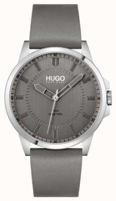 HUGO #first | graues Lederarmband für Herren | graues Zifferblatt 1530185