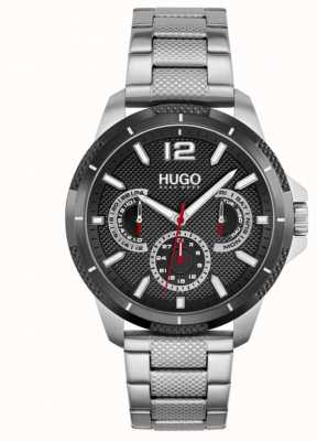HUGO #sport | Herren Edelstahl Armband | schwarzes Zifferblatt 1530195