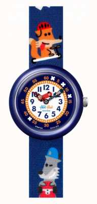 Flik Flak Sk8fox | Stoffarmband mit blauem Fuchsdruck | weißes Zifferblatt FBNP164