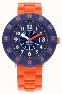 Flik Flak Orangenstein | orangefarbenes Silikonarmband | blaues Zifferblatt FCSP103