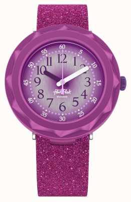 Flik Flak Purpleaxus | lila Glitzer-Silikonarmband | lila Zifferblatt FCSP106