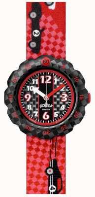 Flik Flak 3 2 1 los! | rotes Stoffarmband mit Rennwagen-Print | schwarzes Zifferblatt FPSP044