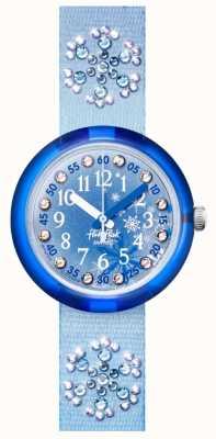 Flik Flak Gefroren | blaues Kristallset Stoffarmband | blaues Zifferblatt FPNP073