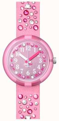 Flik Flak Millefeux | rosafarbenes Kristallset Stoffarmband | rosa Zifferblatt FPNP074