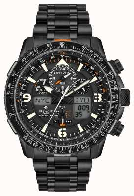Citizen Skyhawk bei | Herren schwarz IP Stahl Armband | schwarzes Zifferblatt JY8075-51E