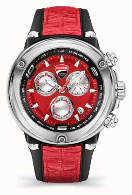 Ducati Dt001   Chronograph   rotes Zifferblatt   rotes Silikonband DU0064-CCH.A04