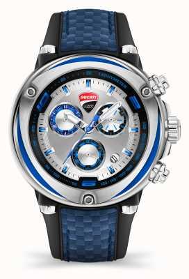 Ducati Dt001   Chronograph   silbernes Zifferblatt   blaues Silikonband DU0064-ECH.B03