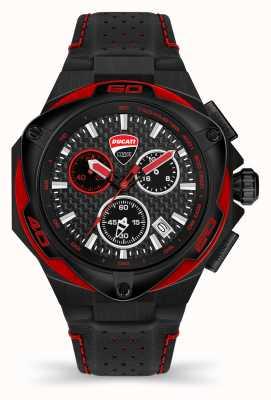 Ducati Dt002   Chronograph   schwarzes Zifferblatt   schwarzes Lederband DU0065-ECH.A04