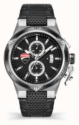 Ducati Dt003   Chronograph   schwarzes Zifferblatt   schwarzes Lederband DU0066-CCH.B01