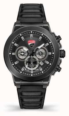 Ducati Dt004   Dueltime   schwarzes Zifferblatt   schwarzes Lederband DU0068-CCH.A01