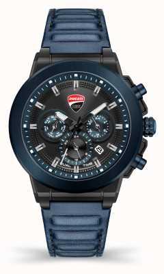 Ducati Dt004   Duellzeit   schwarzes Zifferblatt   blaues Lederband DU0068-CCH.A03