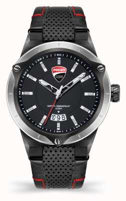 Ducati Dt006   schwarzes Zifferblatt   schwarzes Lederband DU0072-3HC.C02