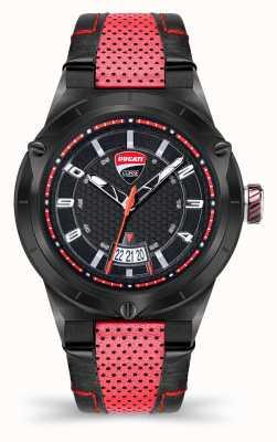 Ducati Dt006   schwarzes Zifferblatt   rotes Lederband DU0072-3HE.A01