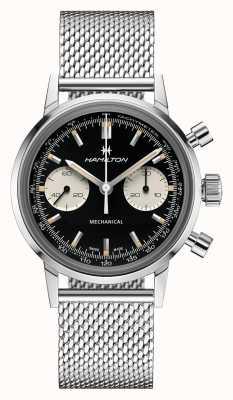 Hamilton Intramatisch | Chronograph schwarzes Zifferblatt | Stahlgitterarmband H38429130