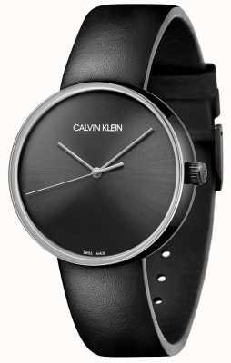 Calvin Klein Schwarzes Lederarmband für Damen | schwarzes Zifferblatt KBL234C1
