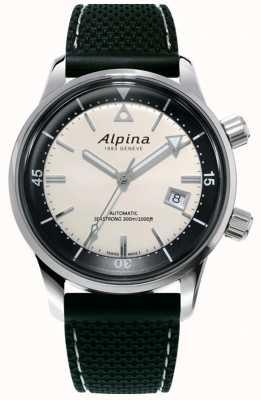 Alpina Seastrong Diver Erbe der Männer | schwarzes Silikonband | weißes Zifferblatt AL-525S4H6