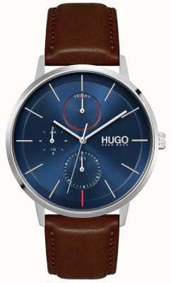 HUGO #existieren | braunes lederarmband für männer | blaues Zifferblatt 1530201