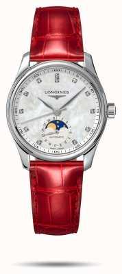 Longines Master Collection rotes Lederarmband für Damen L24094872