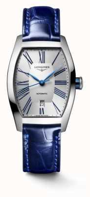 Longines Evidenza Tonneau blaues Lederarmband L21424702