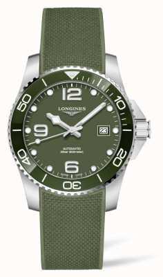Longines Hydroconquest Automatikuhr mit grünem Kautschukarmband L37813069