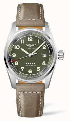 Longines Spirit grünes Zifferblatt braunes Lederband L38104032