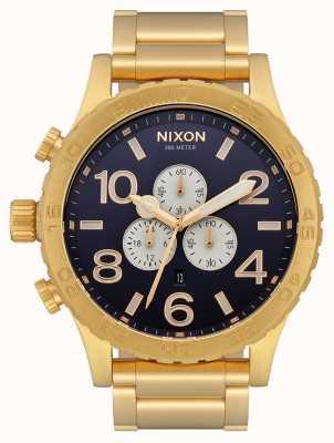 Nixon 51-30 Chrono | ganz gold / indigo | goldenes ip-armband | indigofarbenes Zifferblatt A083-2033