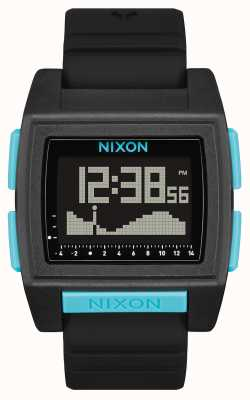 Nixon Basistide-Profi | ganz schwarz / blau | digital | schwarzes Silikonarmband A1307-602