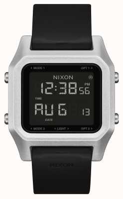Nixon Heftklammer | silber / schwarz | digital | schwarzes Silikonarmband A1309-625