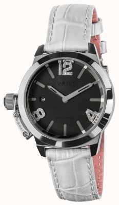 U-Boat Classico 38 schwarzes Zifferblatt weißes Lederband 8482